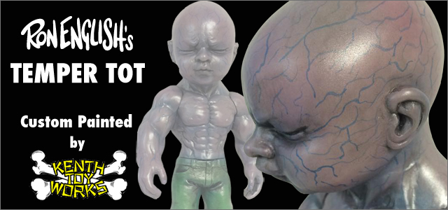 Ron English:Temper Tot Albino Purple custom painted by Kenth Toy Works for BlackBook Toy