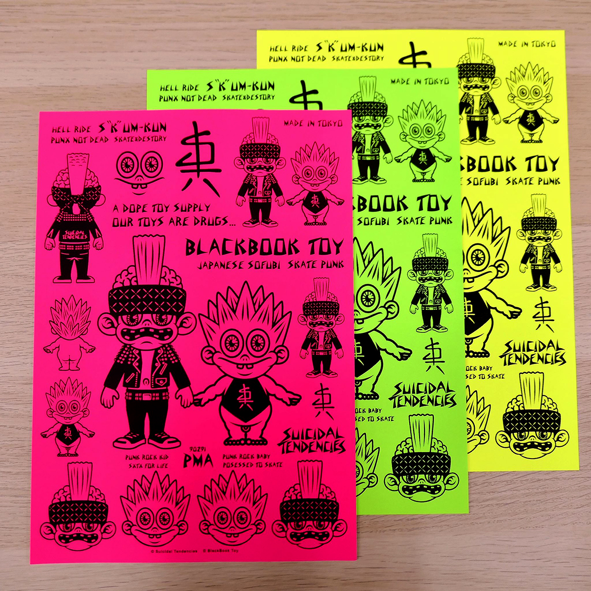 Suicidal Tendencies:PUNK ROCK BOY&BABY screen printed sticker sheet